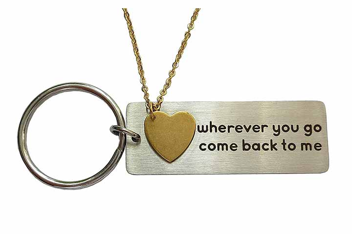 DJwindfy Wherever You Go Come Back to Me Keychain And Necklace Set