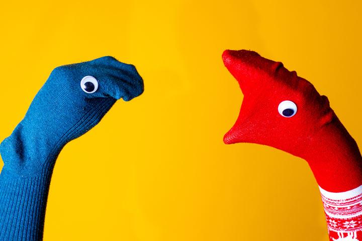 Dinosaur sock puppet