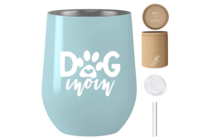 Fancyfams Dog-Mom Stainless Steel Wine Tumbler