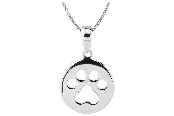 Hawaiian Silver Dog Paw Print Pendant Necklace