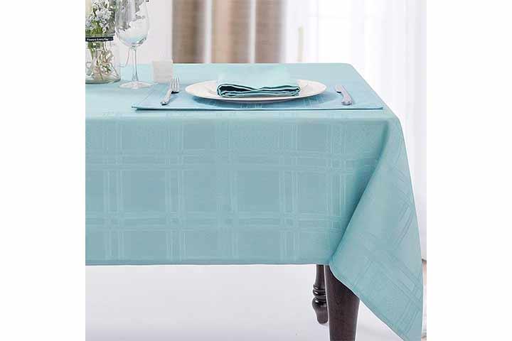 Jucfhy Soild Plaid Jacquard Tablecloth