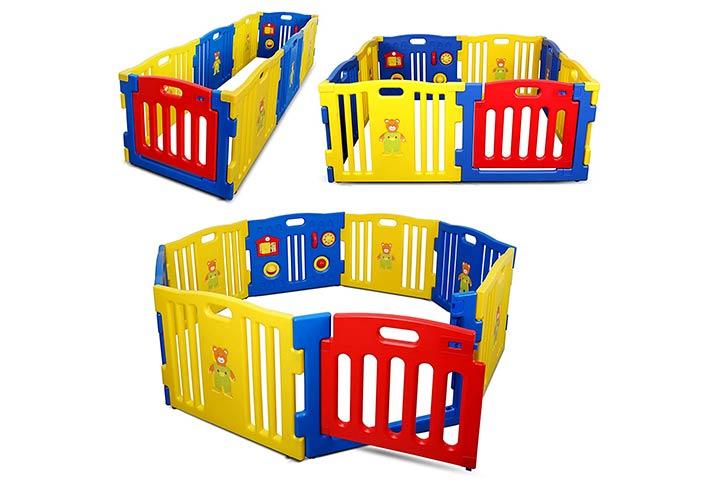 Kidzone Interactive Baby Playpen 8 Panel Safety Gate