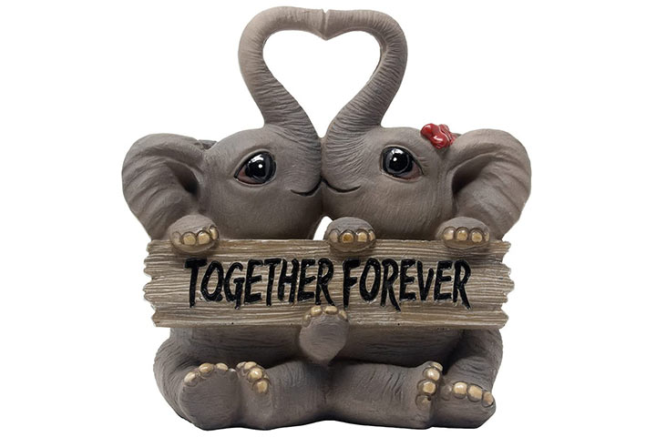 Loving Elephant Couple Figurine