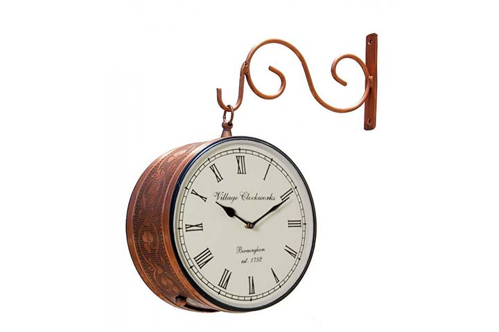 RoyalsCart Double-sided Analog Wall Clock – Copper