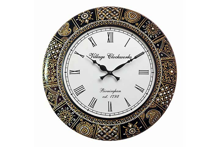 RoyalsCart Floral Design Painting Analog Wall Clock