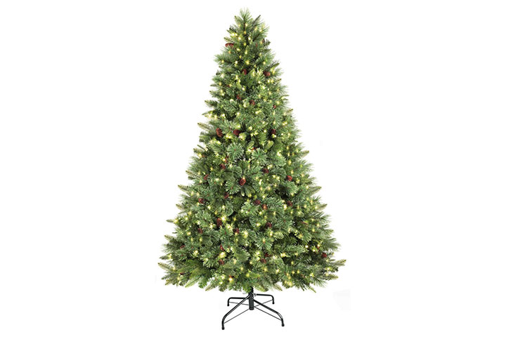 SHareconn Pre-Lit Premium Artificial Hinged Christmas Pine Tree