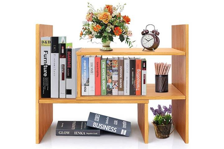 Tilemall Adjustable Desktop Bookshelf Desk Organizer
