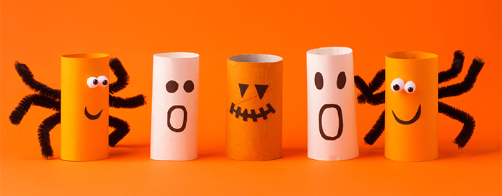 Toilet paper scarecrows and paper cone ghosts