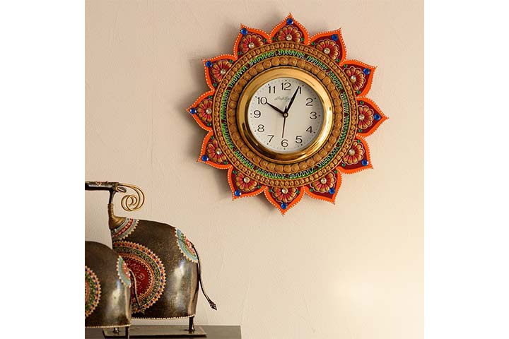 eCraft India Wooden and Papier-Mache Wall Clock