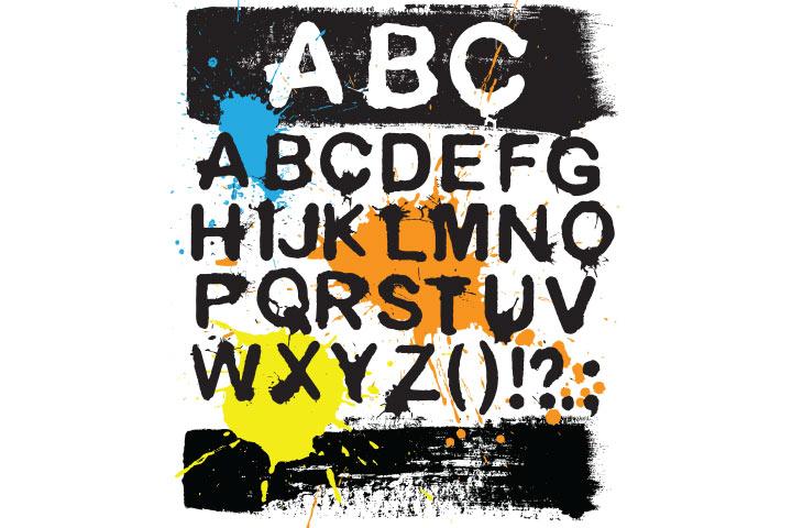 Alphabet spray painting