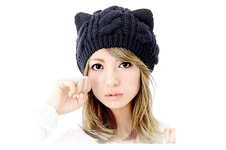 Amberetech Cute Knitted Kitty Ears Hat