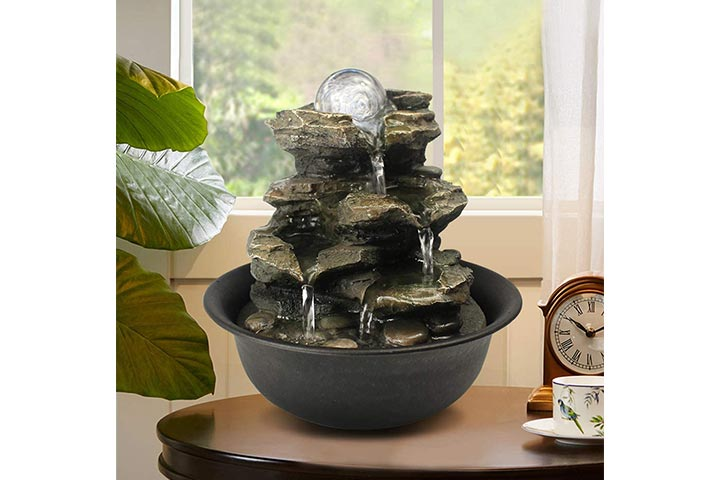 BBabe Spinning Orb Cascading Tabletop Fountain