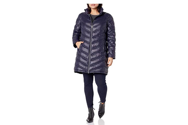 Calvin Klein Womens Chevron Quilted Packable Down Jacket
