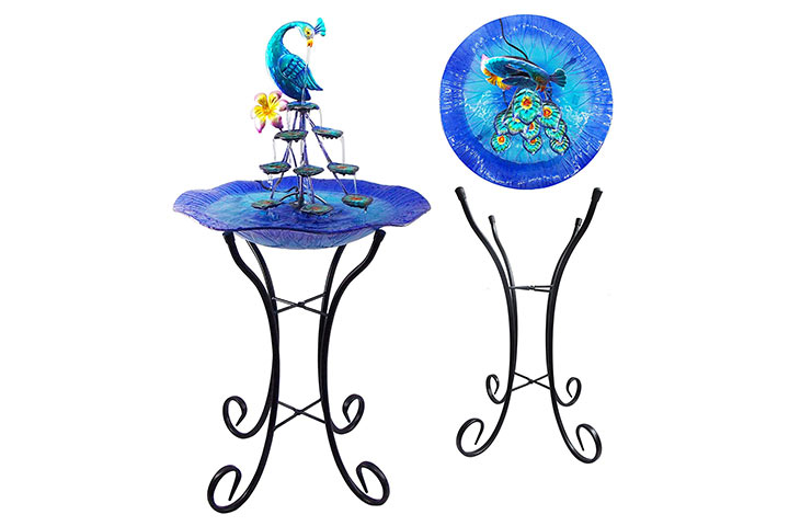 Comfy Hour Blue Peacock Water Fountain Tabletop
