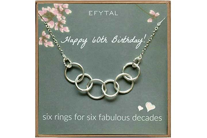 Efytal Happy 60th Birthday Necklace For Women