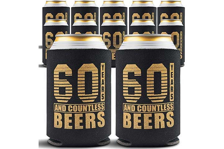 Gold Coastal 60th Birthday Beverage Can Coolers