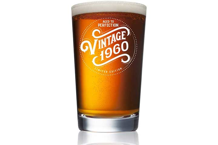 Humor Us Home Goods Funny Vintage 60-Year-Old Pint Glass