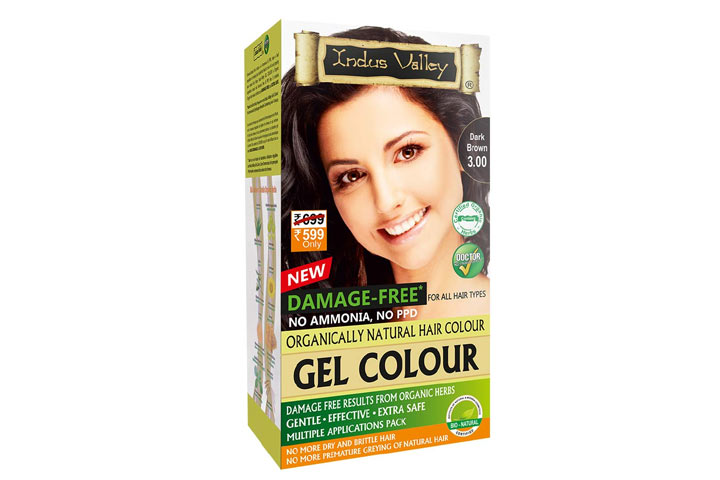 Indus Valley Damage-Free Gel Colour For Hair Dark Brown