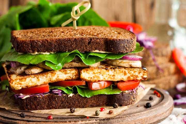 Pan-toasted tofu sandwich