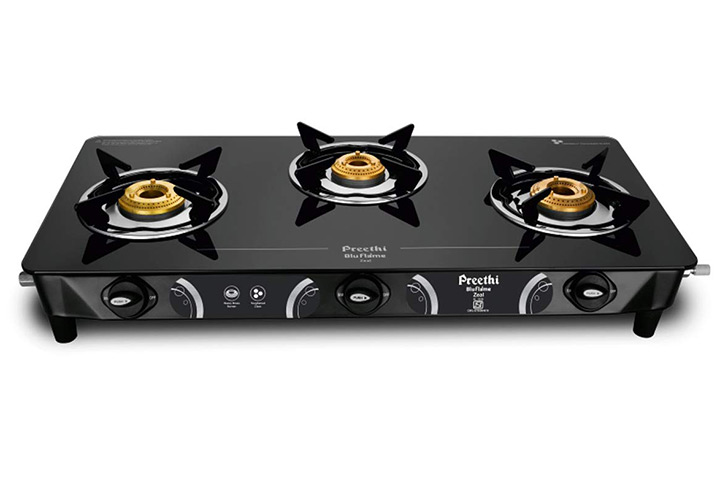Preethi - GTS124 Zeal Glass Top 3 Burner Gas Stove