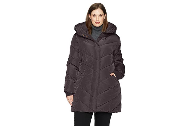Steve Madden Womens Plus-Size Chevron Puffer Jacket