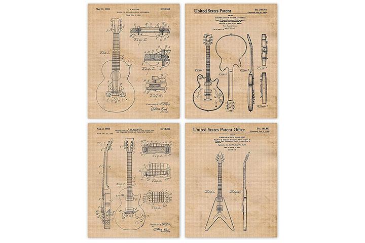 Vintage Gibson Guitar Patent Poster Prints