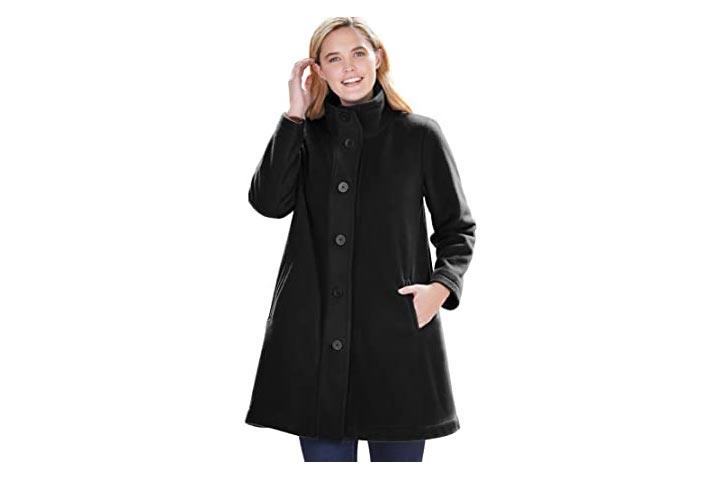 Woman Within Womens Plus Size Fleece Swing Coat
