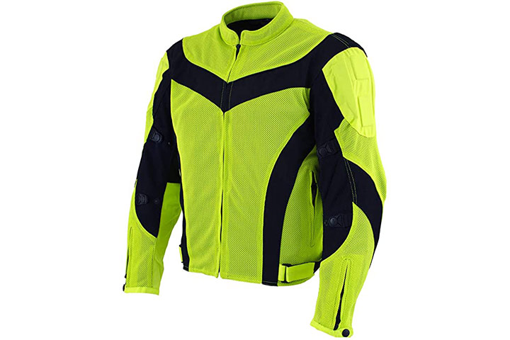 Xelement Men's Invasion Neon Green Motorcycle Jacket