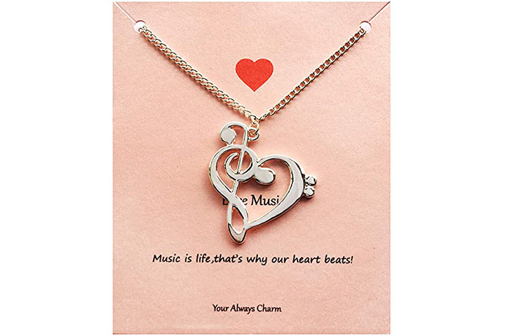 Your Always Charm Heart Music Necklace