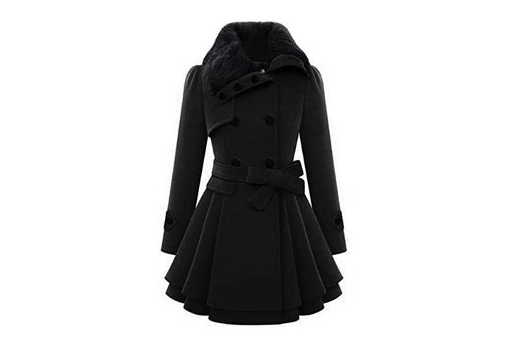 Zeagoo Womens Fashion Faux Thick Wool Trench Coat Jacket