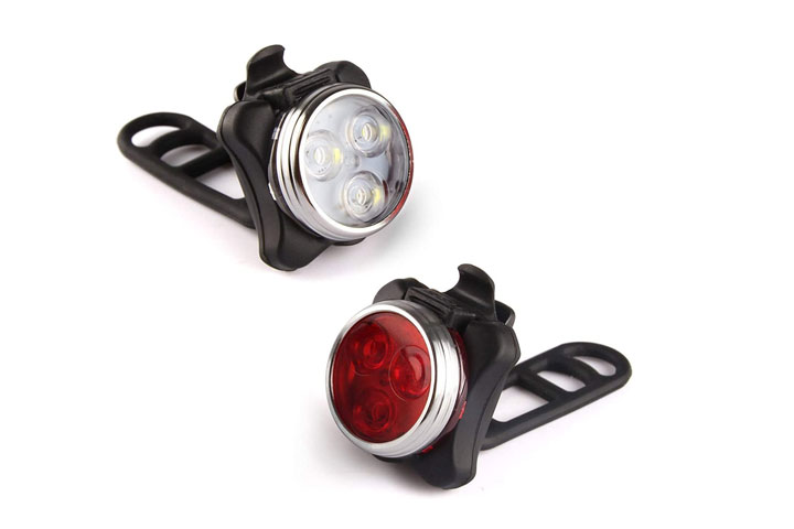 Ascher USB Rechargeable Bike Light Set