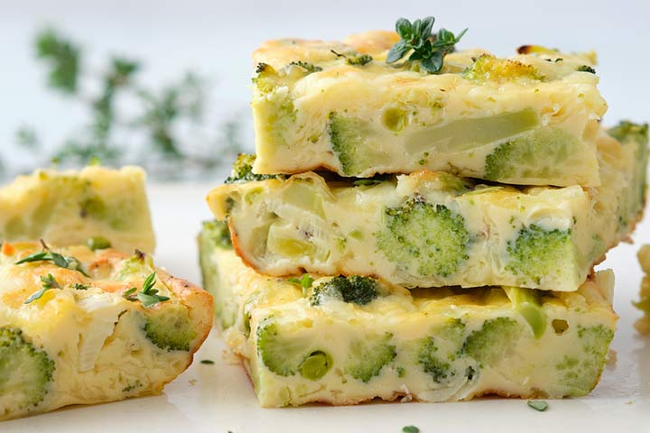 Broccoli and cheese frittata fingers