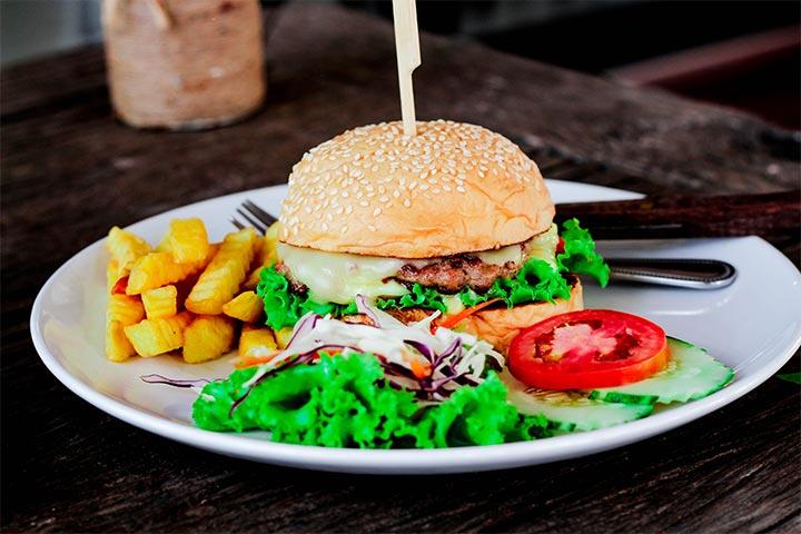 Burger with coleslaw salad