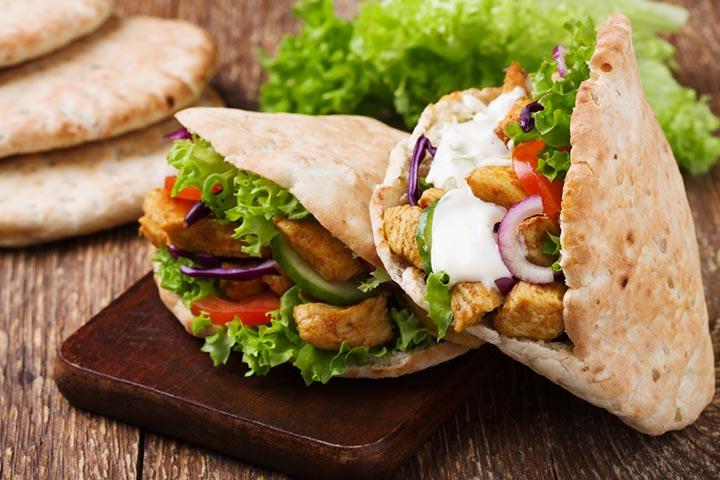 Cheesy whole-wheat pita sandwich