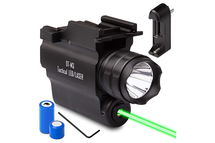 DefendTek Rechargeable Rail Mounted Green Laser Sight Combo