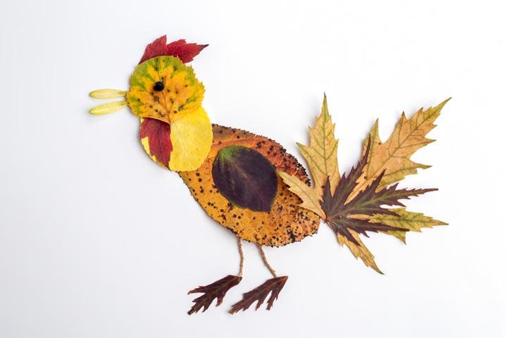 Fall leaf bird