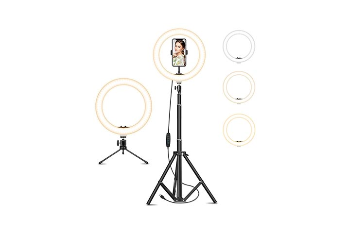 Goutoday Ring Light With Tripod Stand & Phone Holder