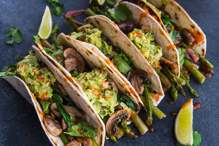 Grilled asparagus and mushroom tacos