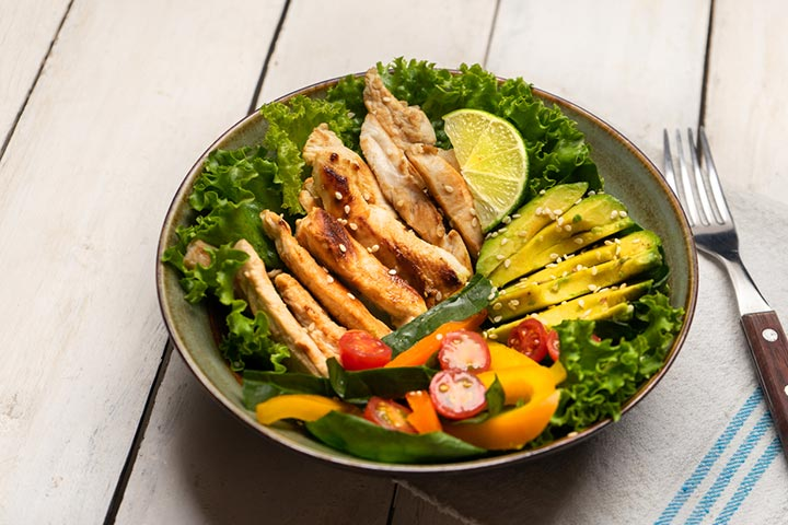 Grilled lemon-herb chicken and avocado salad
