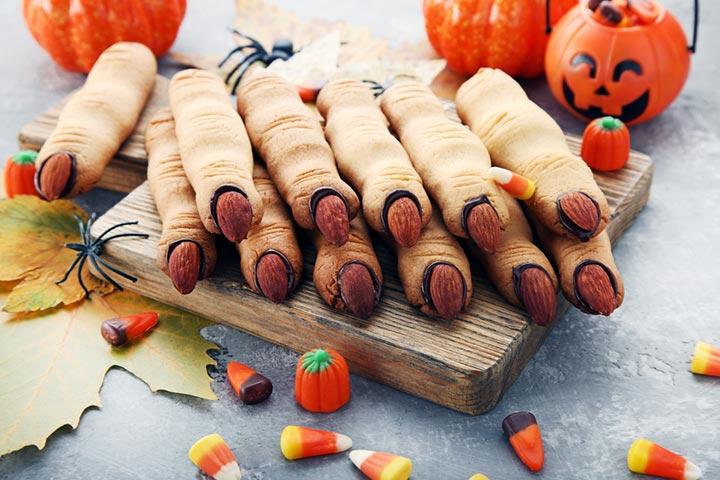 Halloween finger cookies