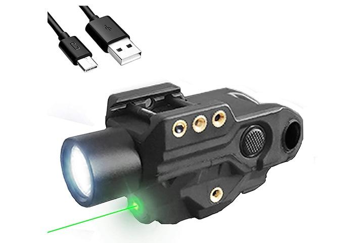 Hawk Gazer Low Profile Rechargeable Flashlight Green Laser Sight Combo