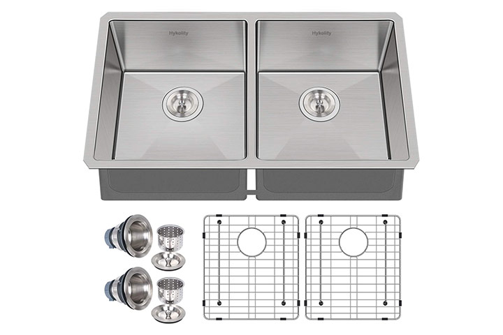 Hykolity Undermount Double Bowl Stainless Steel Kitchen Sink