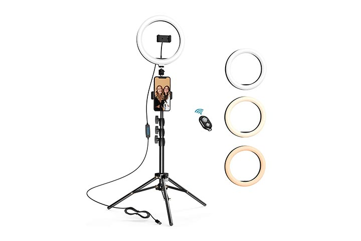 Letscom 10.2 Selfie Ring Light With Tripod Stand & Two Phone Holders