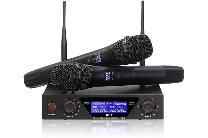 Nasum UHF Dual Channel Wireless Professional Microphone System