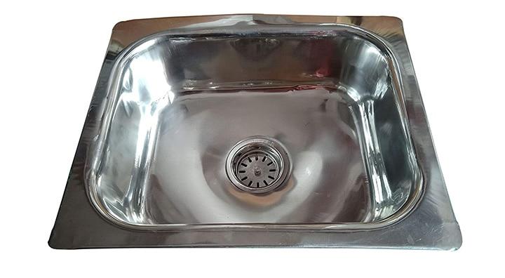 SS Sink Single Bowl Kitchen Sink - Silver Chrome