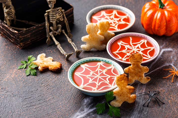 Tomato soup with ghosties