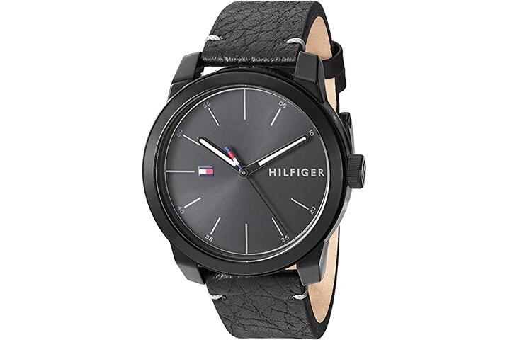 Tommy Hilfiger Men's Quartz Watch with Leather Calfskin Strap