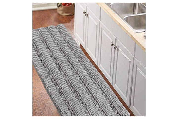 Turquoize Gray Kitchen Runner Chenille Shag Area Rug