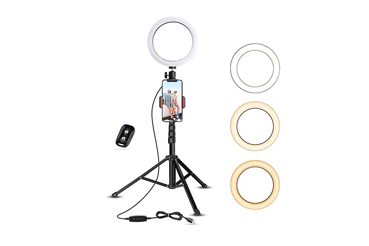 Ubeesize Selfie Ring Light With Tripod Stand Cell Phone Holder