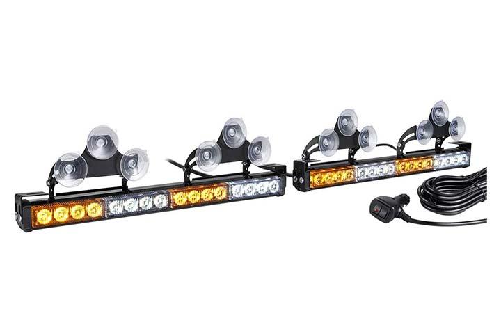Wowtou 2 in 1 LED Amber White Traffic Advisor Strobe Light